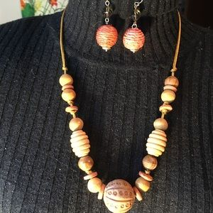 Wood Beaded Necklace and Mache Earrings